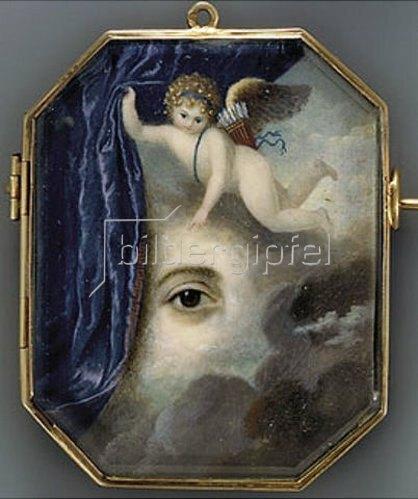 Unbekannter Künstler: Ein in Wolken schwebener Putto öffnet einen blauen Vorhang u. enthüllt ein rechtes Auge mit brauner Iris. Ca. 1820