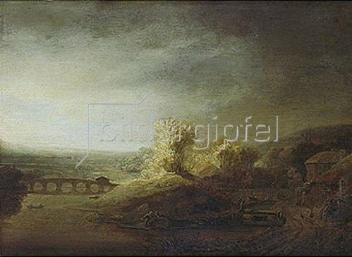 Rembrandt van Rijn: Landschaft mit langer Bogenbrücke.