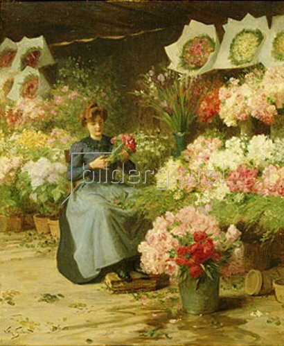 Victor Gabriel Gilbert: Blumenverkäuferin vor der Kirche La Madeleine, Paris. (o.J.)