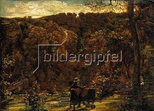 John Constable: Maler, in die Betrachtung einer waldigen Landschaft versunken. Um 1820.