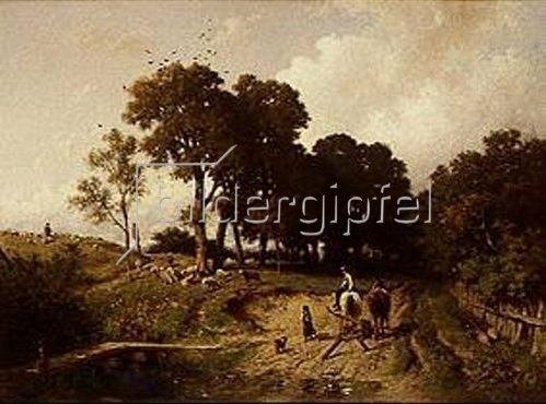 Adolf Heinrich Lier: Landschaft mit Schafherde. Um 1865.
