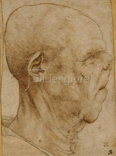 Leonardo da Vinci: Karikatur eines Männerkopfes im Profil. Um 1507