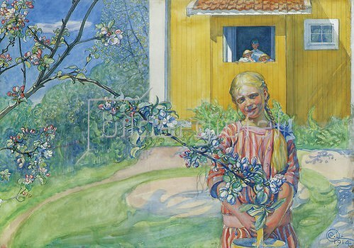 Carl Larsson: Mädchen mit einem blühenden Apfelzweig. 1914