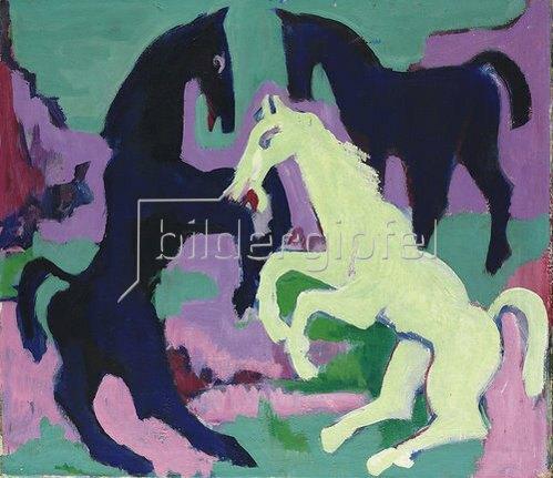 Ernst Ludwig Kirchner: Drei Pferde. Um 1923