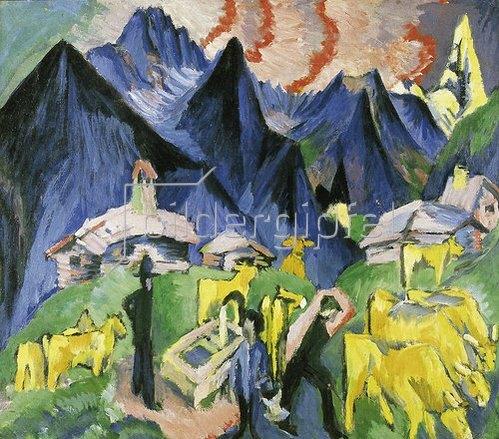 Ernst Ludwig Kirchner: Alpleben (Mitteltafel eines Triptychons). 1918
