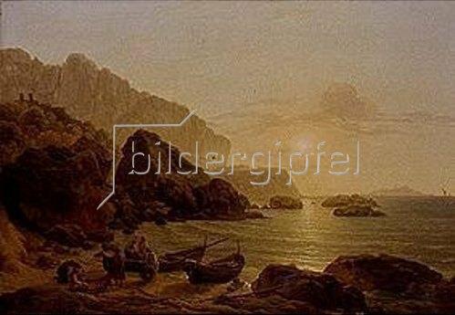 Joseph Rebell: Küste von Capri bei Sonnenuntergang. 1817.