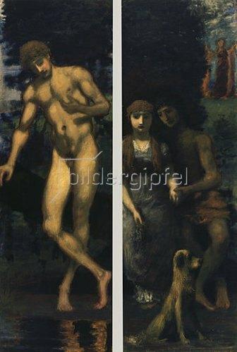 Hans von Marées: Triptychon Die Werbung, rechte Seite: Narziß, linke Seite: Liebespaar/Verlobung. 1884/85-1887