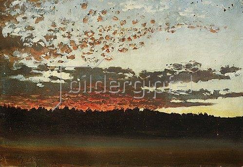 Per Daniel Holm: Sonnenuntergang über einer Sumpf- und Waldlandschaft (Schweden). 1880