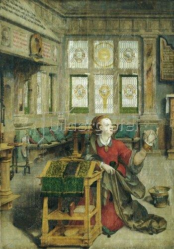 Hermann tom Ring: Überwasserkirche Münster: Hochaltar, Maria aus der Verkündigung. Vor 1594