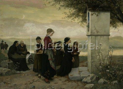 Hubert Salentin: Abendgebet (Das Gebet an der Kapelle). 1892