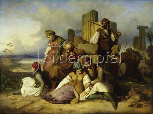 Adolf Friedrich Teichs: Gefangene Griechen von Mamelucken bewacht. 1836