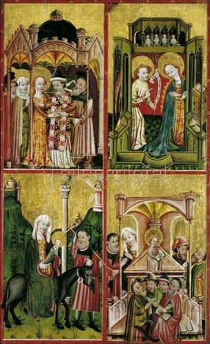 Konrad von Soest: Altarflügel mit der Vermählung Marias, der Verkündigung, der Flucht nach Ägypten und dem 12-jährigen Jesus im Tempel. Um 1430