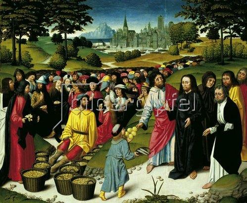 Niederländisch: Die Speisung der Fünftausend. Um 1490