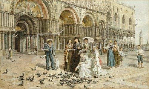 George Goodwin Kilburne: Tauben auf dem Markusplatz in Venedig. 1876