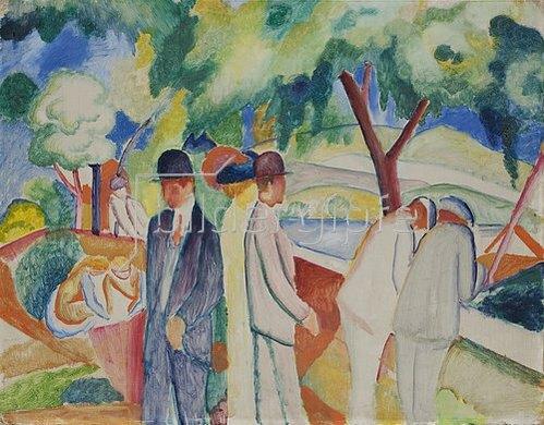 August Macke: Spaziergänger (Großer heller Spaziergang). 1913