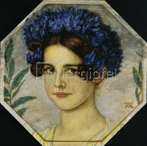 Franz von Stuck: Die Tochter des Künstlers mit Kornblumen im Haar. Um 1909