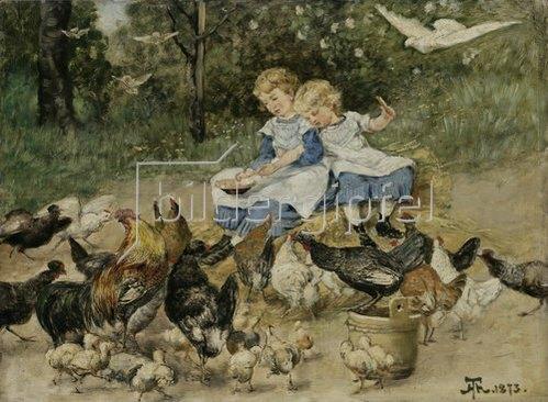 Hans Thoma: Zwei kleine Mädchen hühnerfütternd. 1873