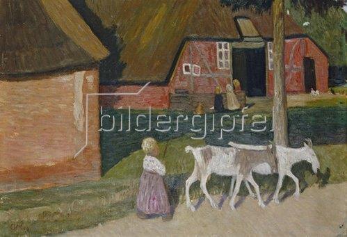 Otto Modersohn: Bauernhaus mit Ziegen und Kindern. Um 1907