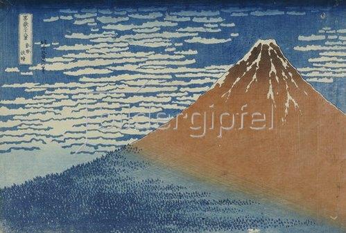 Katsushika Hokusai: Leichter Wind, klares Wetter. Aus der Serie: 36 Ansichten des Berges Fuji.