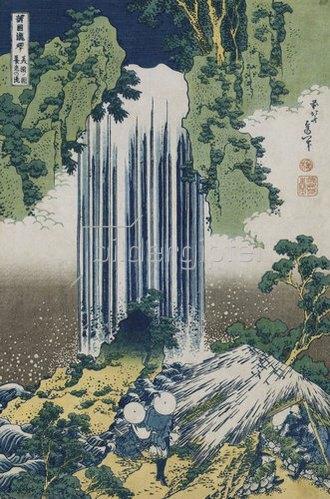 Katsushika Hokusai: Der Yoro Wasserfall in der Provinz Mino. Aus der Serie: Eine Reise zu den Wasserfällen Japans.