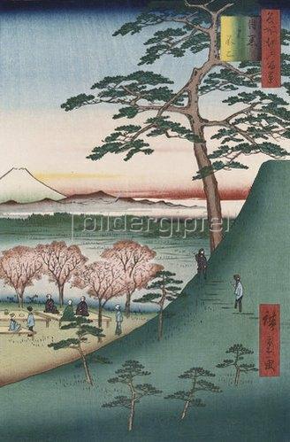 Ando Hiroshige: Fuji, Meguro. Aus der Serie: Hundert Ansichten von Sehenswürdigkeiten in Edo.