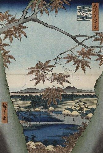 Ando Hiroshige: Ahornblätter, der Tekona Schrein und die Brücke. Aus der Serie: Hundert Ansichten von Sehenswürdigkeiten in Edo.