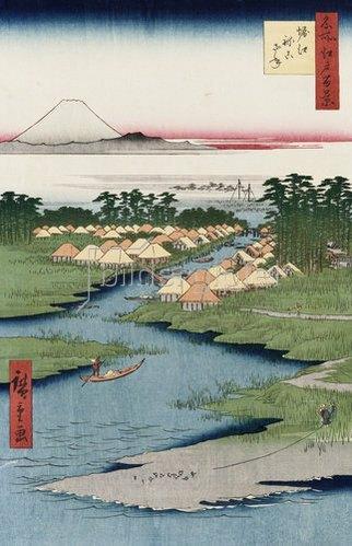 Ando Hiroshige: Nekozane bei Horikiri. Aus der Serie: Hundert Ansichten von berühmten Orten in Edo.