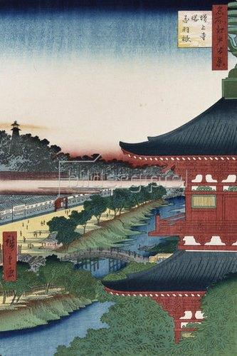 Ando Hiroshige: Der Tempel von Zojoji, Akabane. Aus der Serie: Hundert Ansichten von berühmten Orten in Edo.