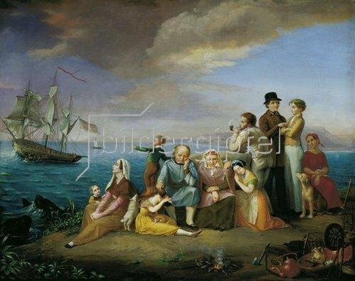 Friedrich Wilhelm Harsewinkel: Die Auswanderer nach Amerika. Um 1850