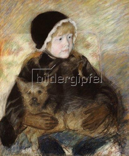 Mary Cassatt: Elsie Cassatt, einen großen Hund haltend. Um 1880
