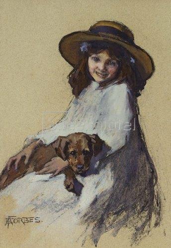 Elizabeth Adela Stanhope Forbes: Mädchen mit ihrem jungen Hund.