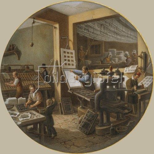 Jean-Charles Develly: In einer Druckerei. Zwischen 1820-35