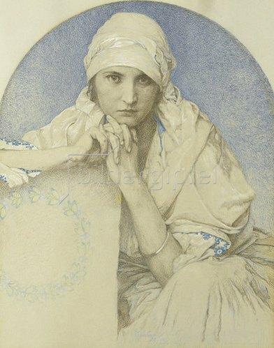 Alfons Mucha: Portrait von Muchas Tochter Jaroslava (Jarca). 1929