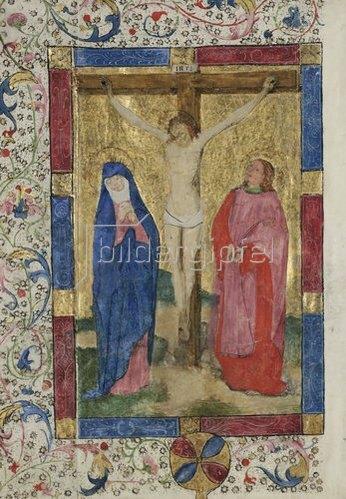 Unbekannter Meister: Kanonblatt mit Kreuzigung Christi, aus einer Missale. 2. H. 15.Jh.