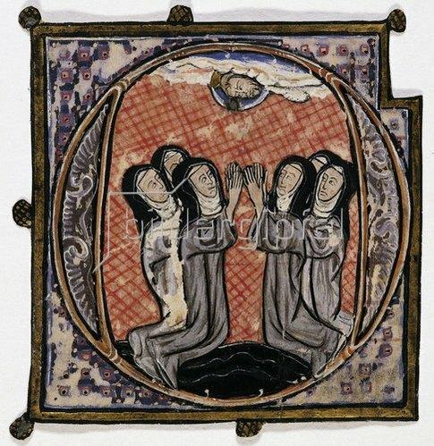 Unbekannter Meister: Initiale 'O' mit Erscheinung Christi über sechs Nonnen. Um 1300