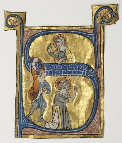 Unbekannter Meister: Initiale 'S' mit Steinigung des Hl. Stephnus aus einer liturgischen Handschrift. 1300-25