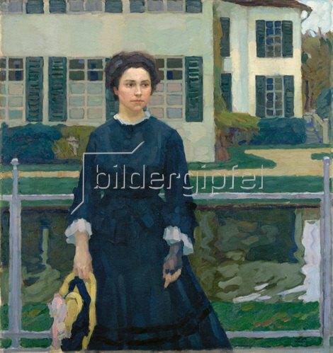 Leo Putz: Frieda Blell vor dem Schloss Planegg (Frau Putz im Garten). 1907