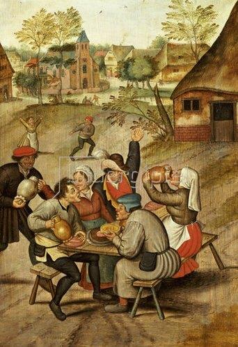 Pieter Brueghel d.J.: Das Frühstück der Diener nach der Hochzeit.
