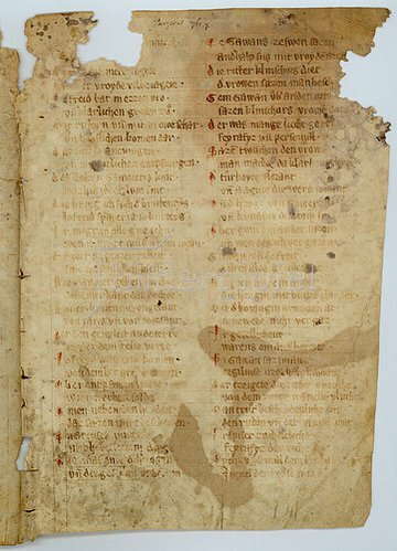Handschrift: Parzival: Bruchstücke einer Pergamenthandschrift des 14. Jahrhunderts.