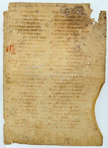 Handschrift: Wolfram von Eschenbach: Parzival (Bruchstücke einer Pergamenthandschrift).