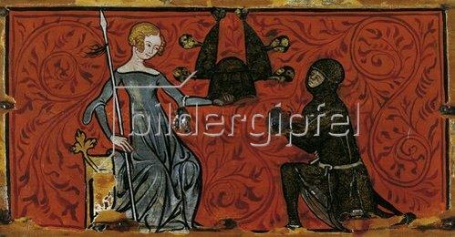 Unbekannter Künstler: Minnekästchen. Innenseite des Deckels: Darstellung der Waffenreichung. 1330/40