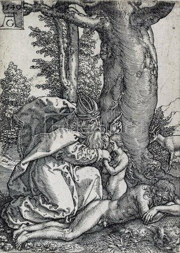 Heinrich Aldegrever: Die Geschichte von Adam und Eva: Die Erschaffung der Eva. 1540