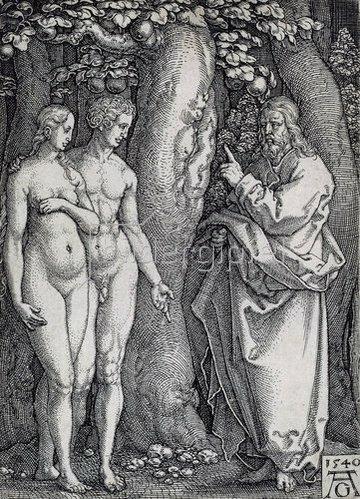 Heinrich Aldegrever: Die Geschichte von Adam und Eva: Gott warnt Adam und Eva. 1540