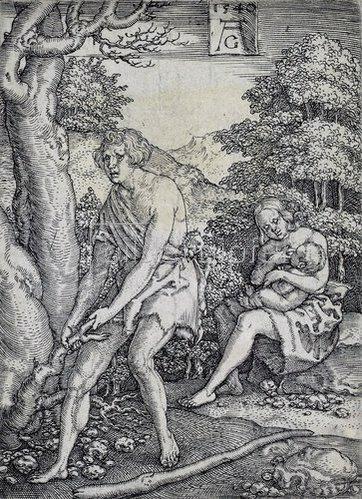 Heinrich Aldegrever: Die Geschichte von Adam und Eva: Adam und Eva arbeiten. 1540