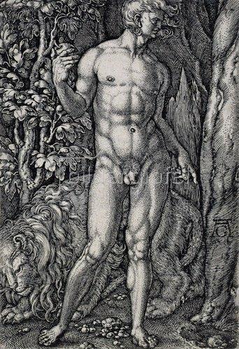 Heinrich Aldegrever: Die Geschichte von Adam und Eva: Adam mit einem Löwen. 1540