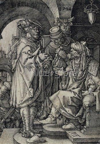 Heinrich Aldegrever: Die Josephsgeschichte: Joseph verkauft Getreide an die Brüder. 1532