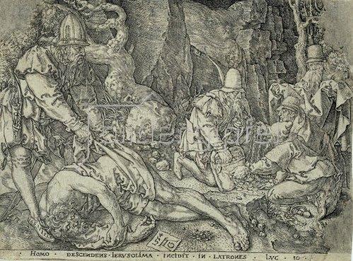 Heinrich Aldegrever: Das Gleichnis vom Barmherzigen Samariter: Der Reisende fällt unter die Räuber. 1554