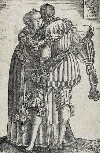 Heinrich Aldegrever: Tanzendes Paar (Blatt 6 der Folge: 'Die großen Hochzeitstänzer').