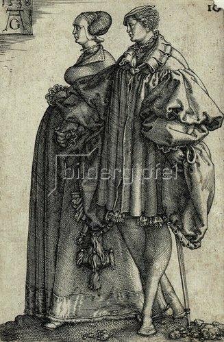 Heinrich Aldegrever: Tanzendes Paar (Blatt 10 der Folge: 'Die großen Hochzeitstänzer').