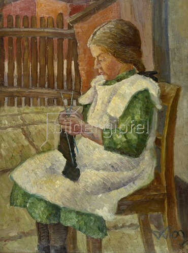 Wilhelm Morgner: Strumpf strickendes Mädchen. 1909